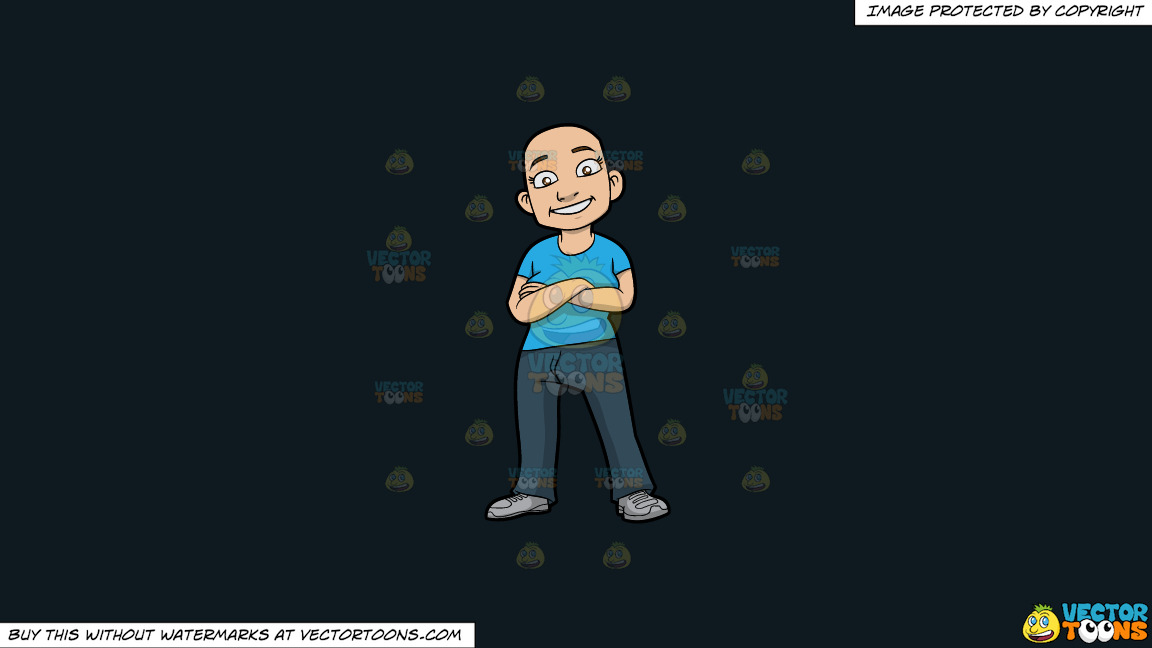 A Happy Bald Woman On A Solid Off Black 0f1a20 Background thumbnail