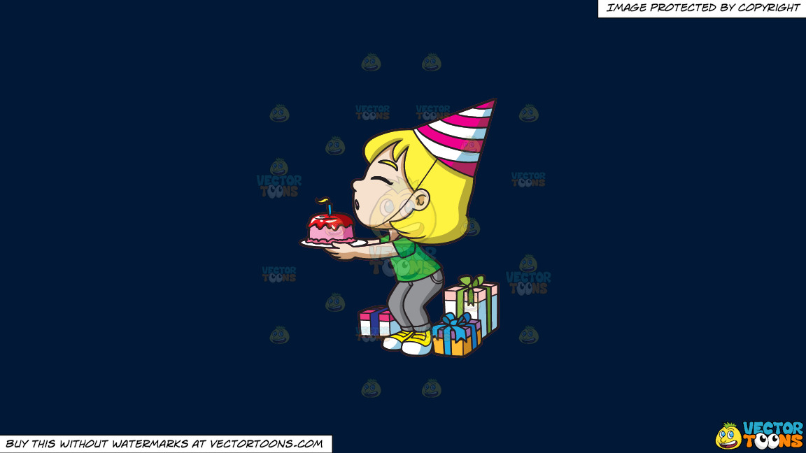 A Happy Birthday Girl Making A Wish On A Solid Dark Blue 011936 Background thumbnail