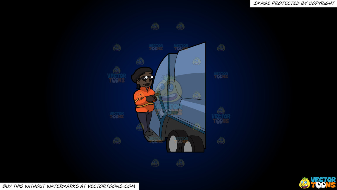 A Happy Black Female Sanitation Worker On A Dark Blue And Black Gradient Background thumbnail