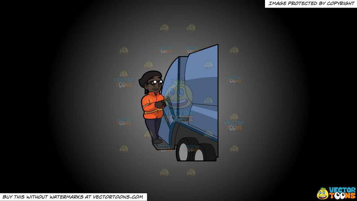 A Happy Black Female Sanitation Worker On A Grey And Black Gradient Background thumbnail