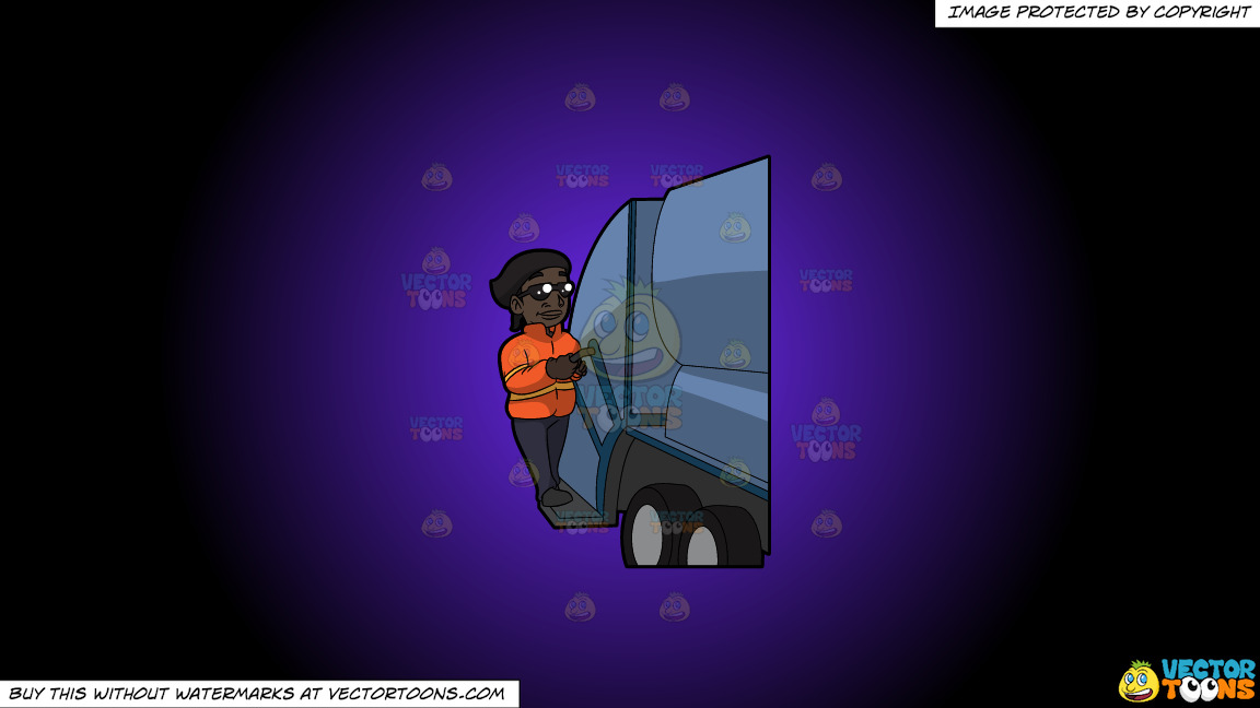 A Happy Black Female Sanitation Worker On A Purple And Black Gradient Background thumbnail