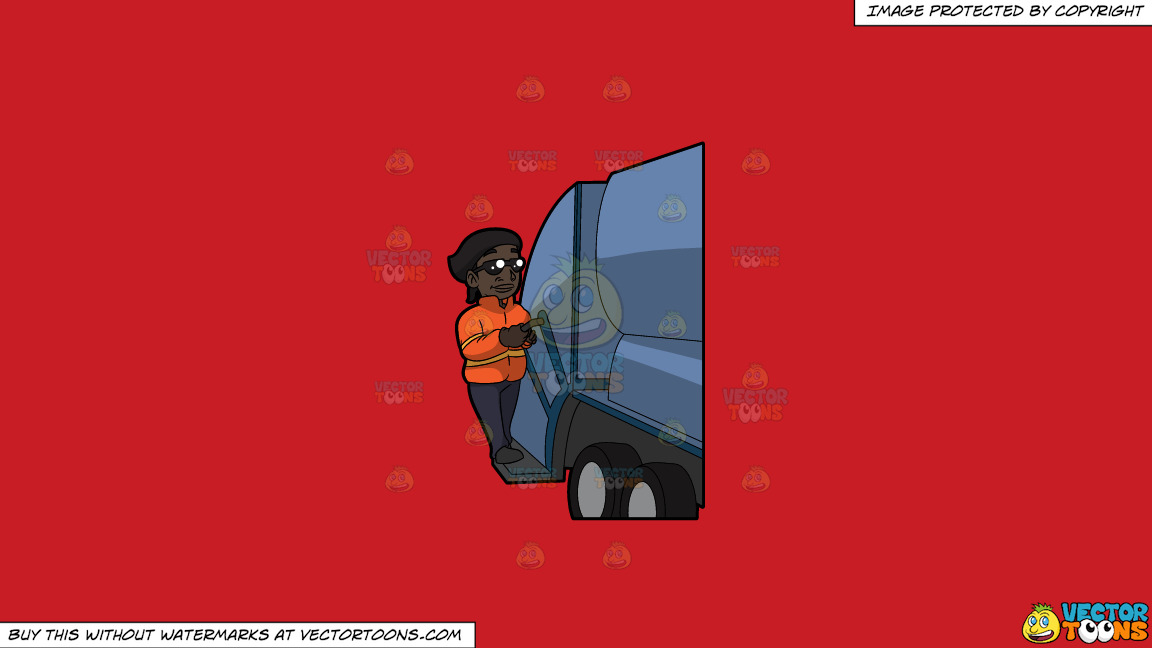 A Happy Black Female Sanitation Worker On A Solid Fire Engine Red C81d25 Background thumbnail