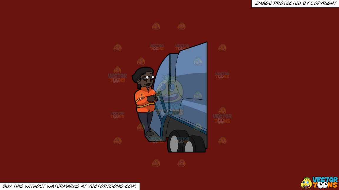 A Happy Black Female Sanitation Worker On A Solid Maroon 69140e Background thumbnail