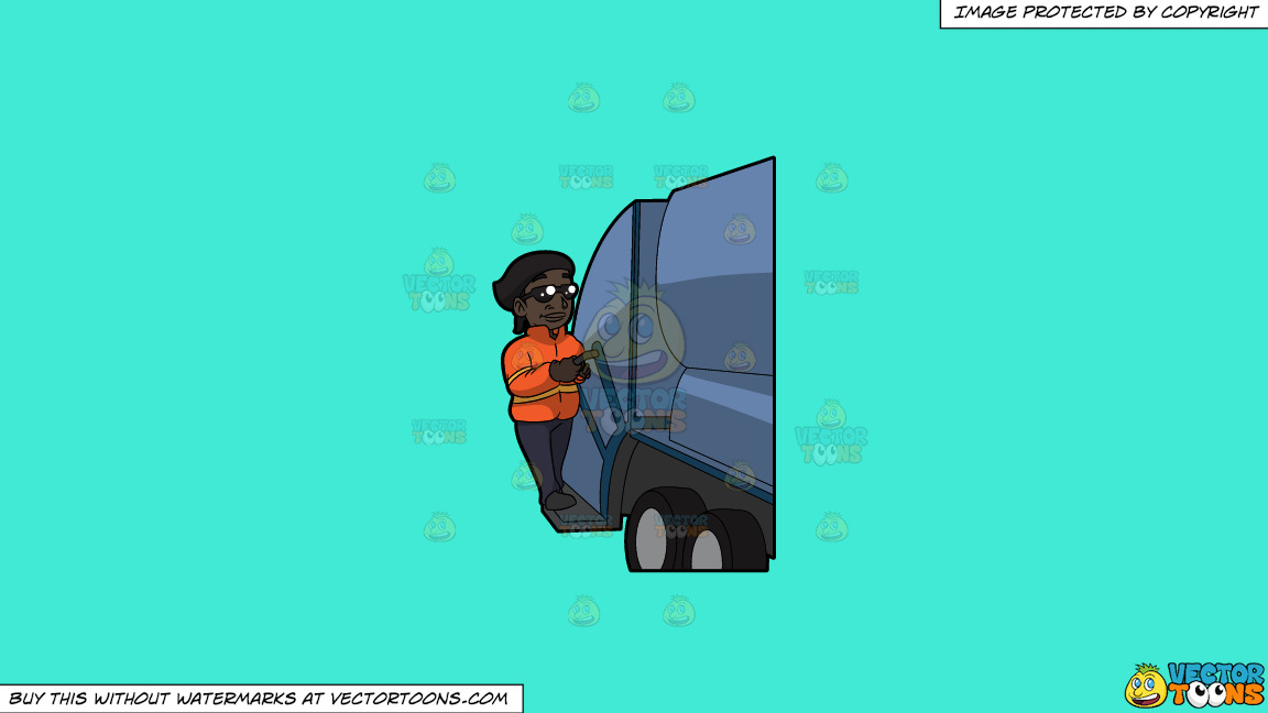 A Happy Black Female Sanitation Worker On A Solid Turquiose 41ead4 Background thumbnail