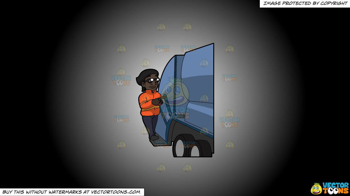 A Happy Black Female Sanitation Worker On A White And Black Gradient Background thumbnail