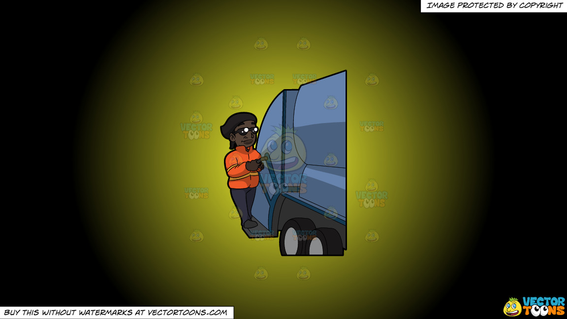 A Happy Black Female Sanitation Worker On A Yellow And Black Gradient Background thumbnail