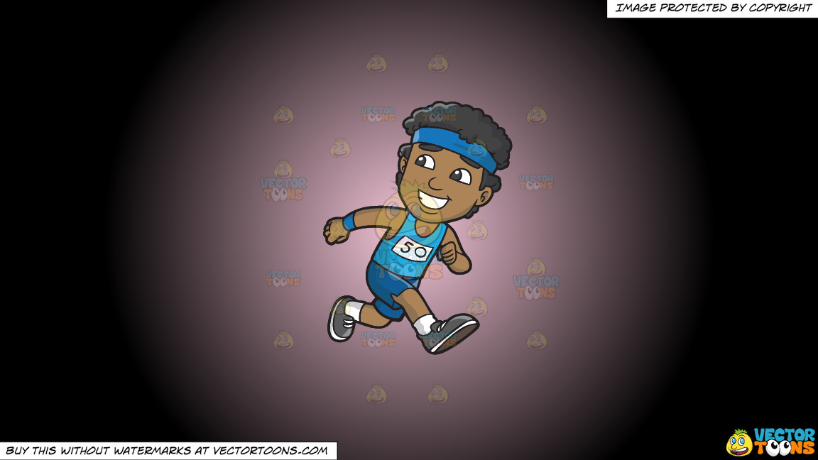 A Happy Black Guy Running In A Marathon On A Pink And Black Gradient Background thumbnail