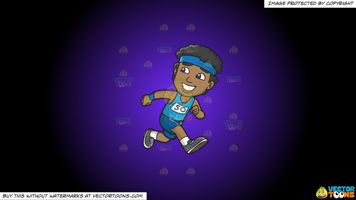 A Happy Black Guy Running In A Marathon On A Purple And Black Gradient Background thumbnail