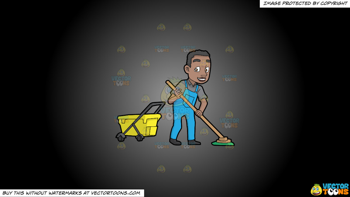 A Happy Black Janitor Mopping The Floor On A Grey And Black Gradient Background thumbnail