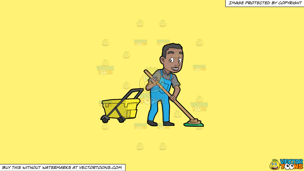 A Happy Black Janitor Mopping The Floor On A Solid Sunny Yellow Fff275 Background thumbnail