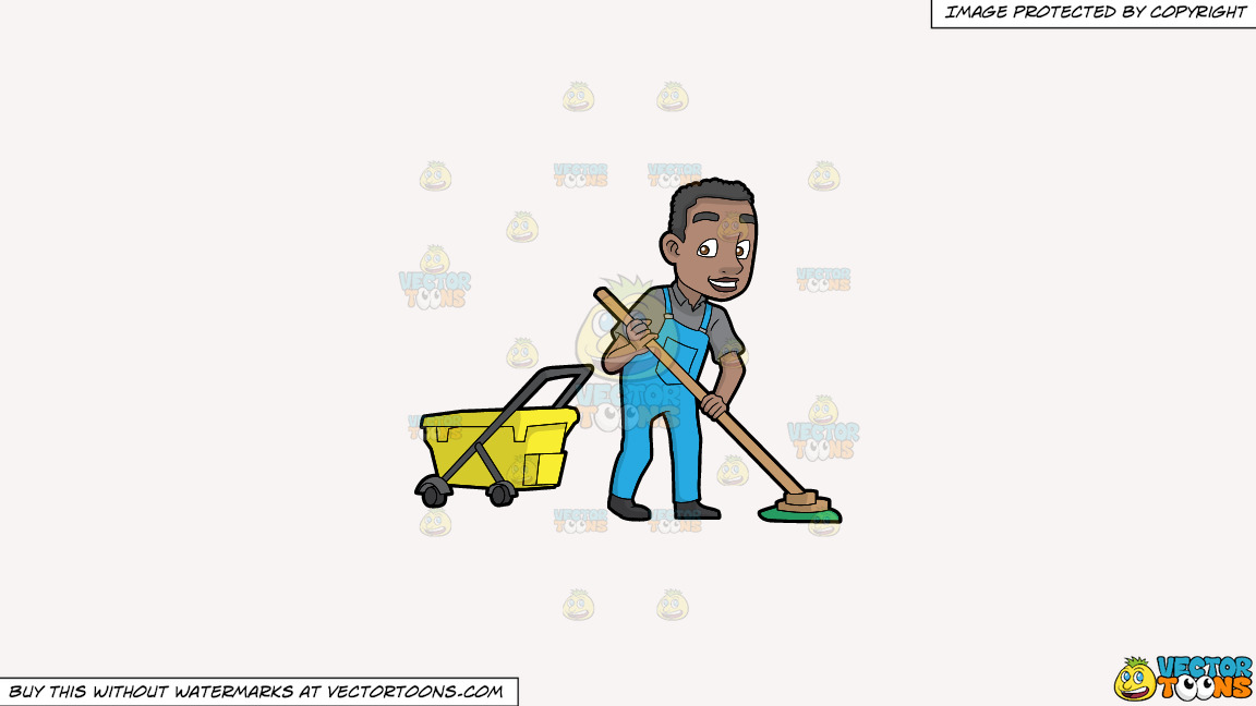A Happy Black Janitor Mopping The Floor On A Solid White Smoke F7f4f3 Background thumbnail