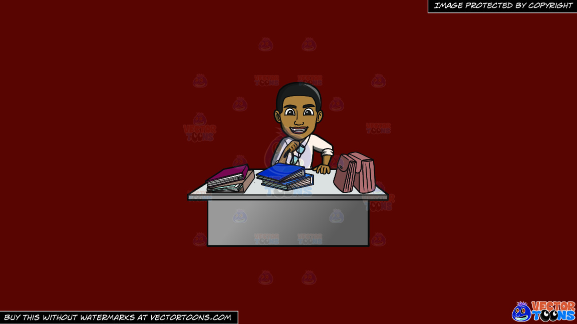 A Happy Black Male Office Worker On A Solid Maroon 69140e Background thumbnail