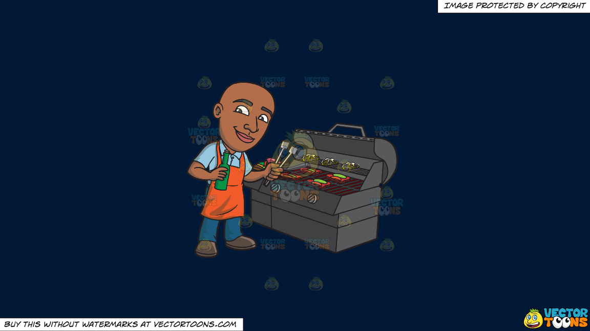A Happy Black Man Grilling Some Alcohol Infused Steaks And Vegetables On A Solid Dark Blue 011936 Background thumbnail
