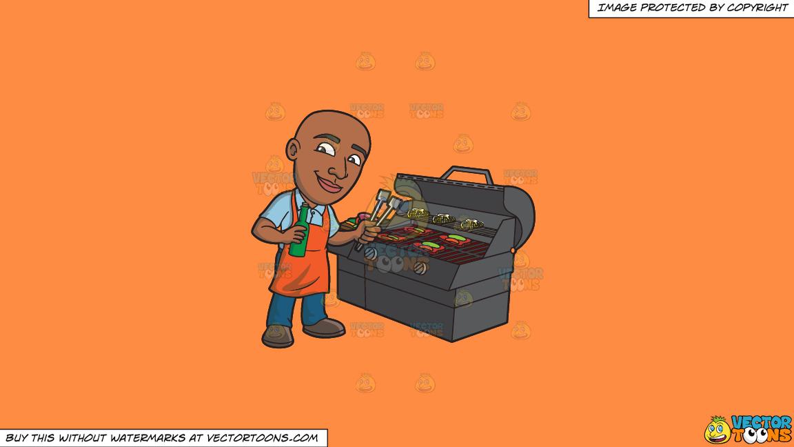 A Happy Black Man Grilling Some Alcohol Infused Steaks And Vegetables On A Solid Mango Orange Ff8c42 Background thumbnail
