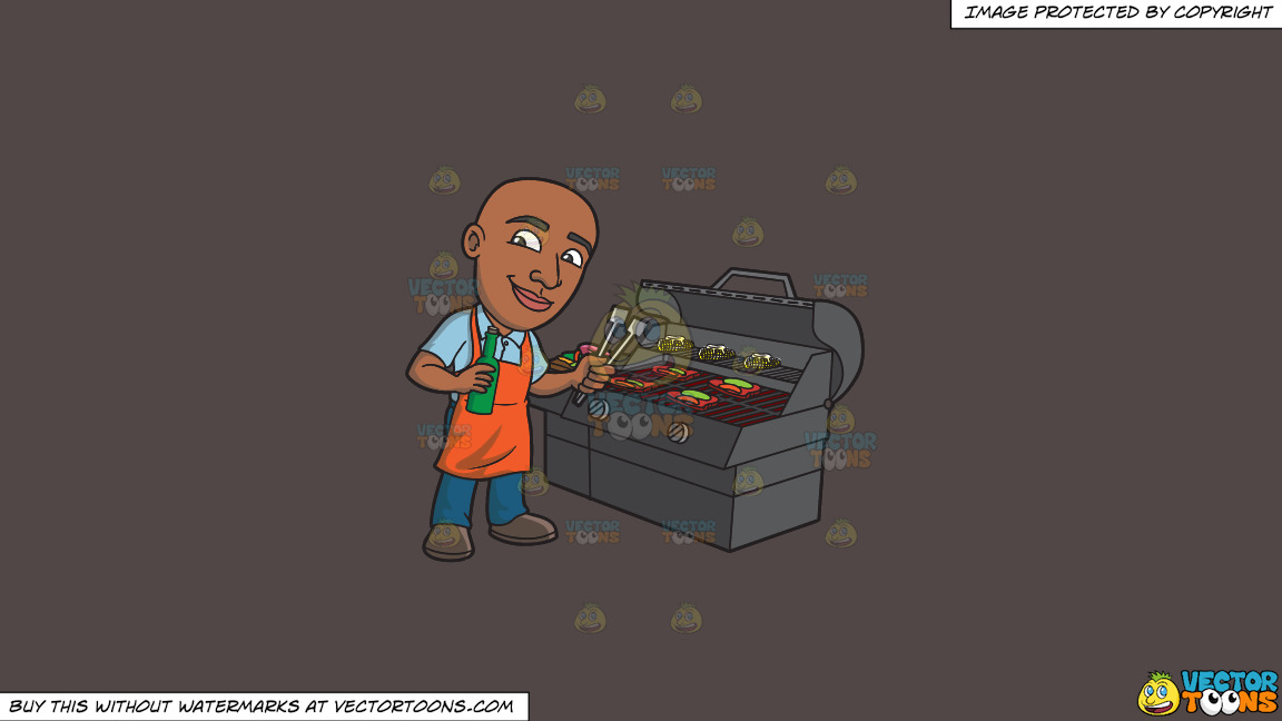 A Happy Black Man Grilling Some Alcohol Infused Steaks And Vegetables On A Solid Quartz 504746 Background thumbnail