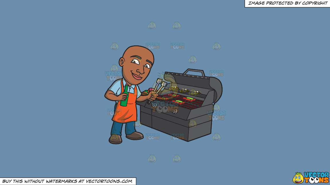 A Happy Black Man Grilling Some Alcohol Infused Steaks And Vegetables On A Solid Shadow Blue 6c8ead Background thumbnail