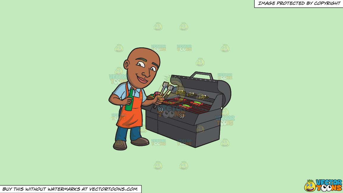 A Happy Black Man Grilling Some Alcohol Infused Steaks And Vegetables On A Solid Tea Green C2eabd Background thumbnail