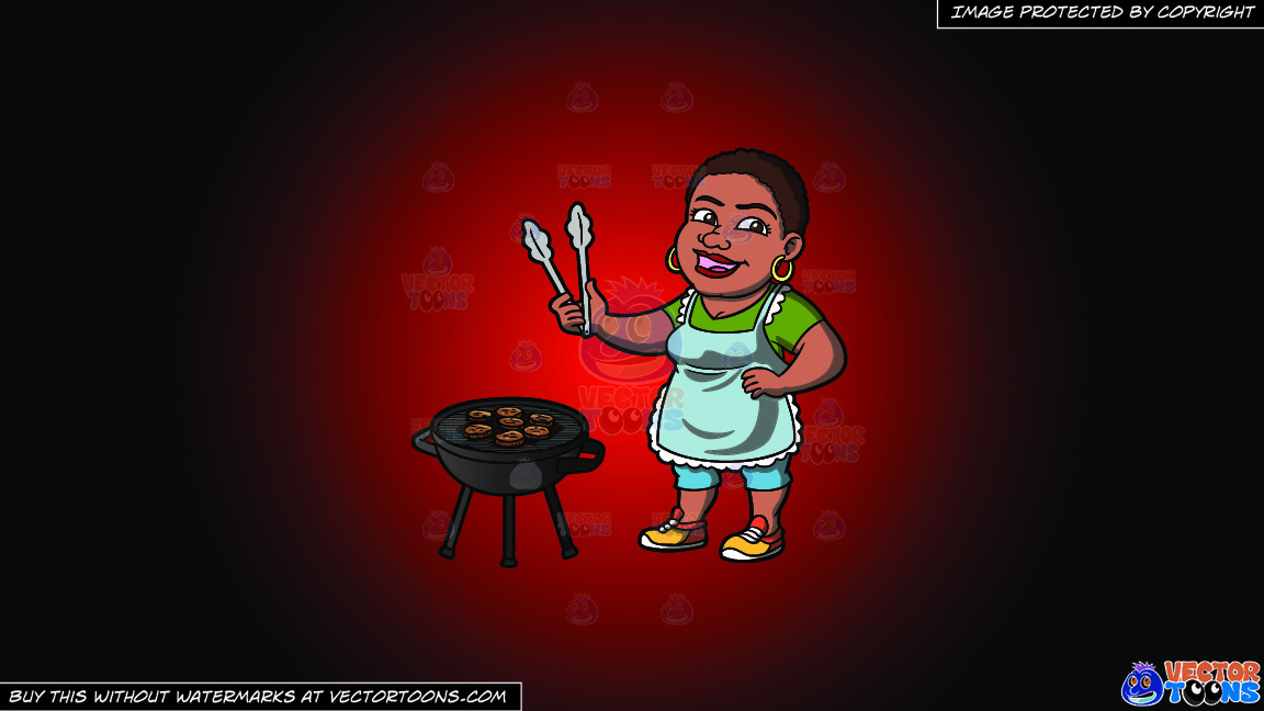 A Happy Black Woman Grilling Burger Patties On A Red And Black Gradient Background thumbnail