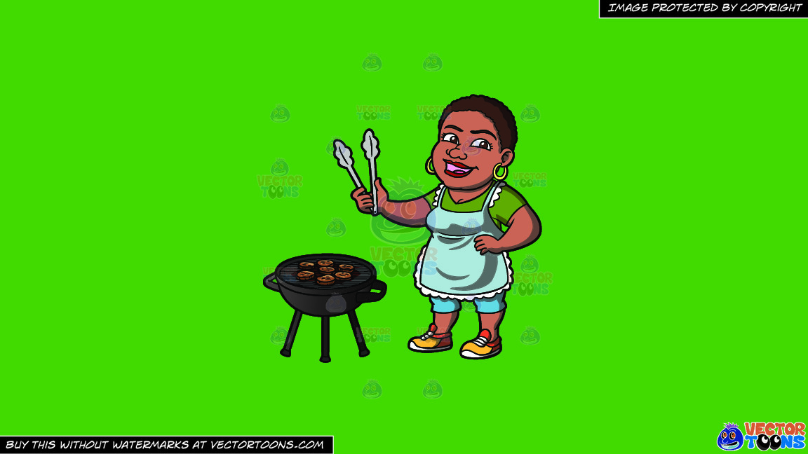 A Happy Black Woman Grilling Burger Patties On A Solid Kelly Green 47a025 Background thumbnail