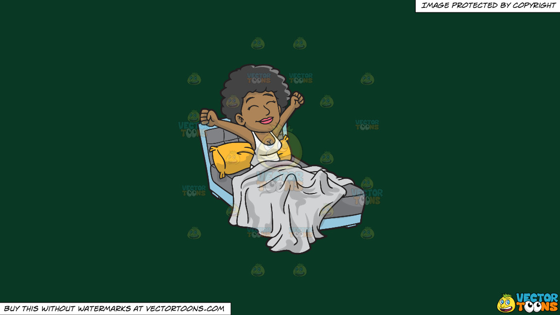 A Happy Black Woman Waking Up In The Morning On A Solid Dark Green 093824 Background thumbnail