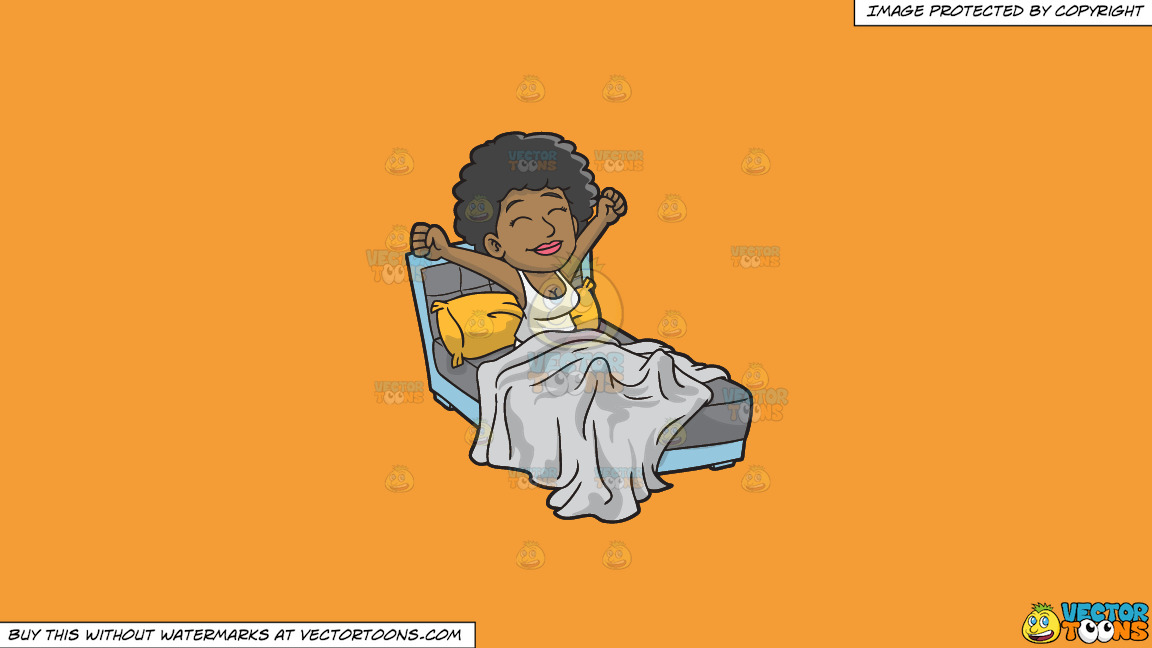 A Happy Black Woman Waking Up In The Morning On A Solid Deep Saffron Gold F49d37 Background thumbnail