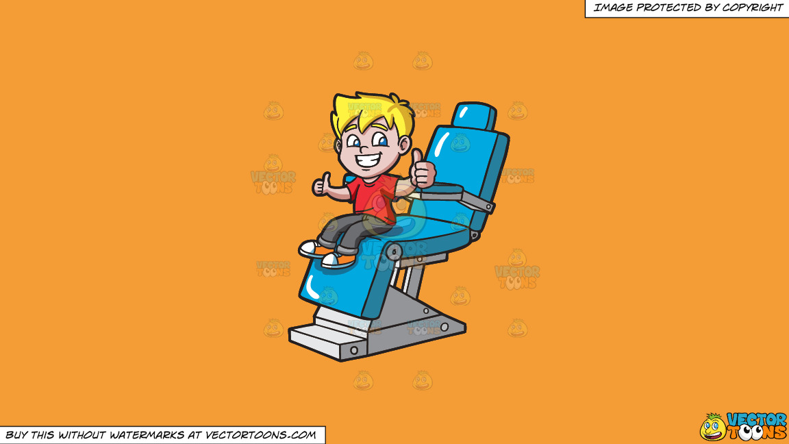 A Happy Boy After Cleaning His Teeth At The Dentist On A Solid Deep Saffron Gold F49d37 Background thumbnail