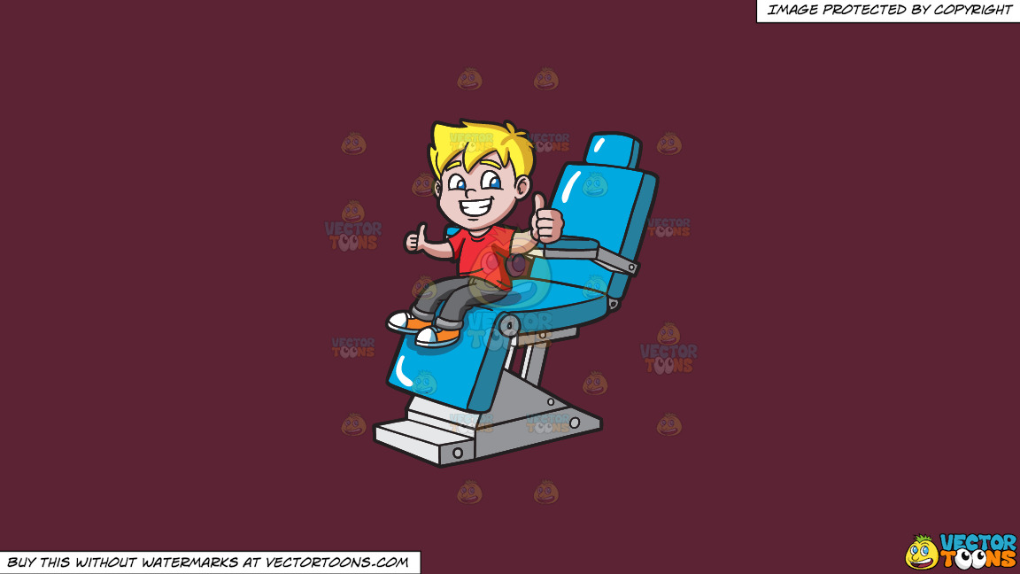 A Happy Boy After Cleaning His Teeth At The Dentist On A Solid Red Wine 5b2333 Background thumbnail