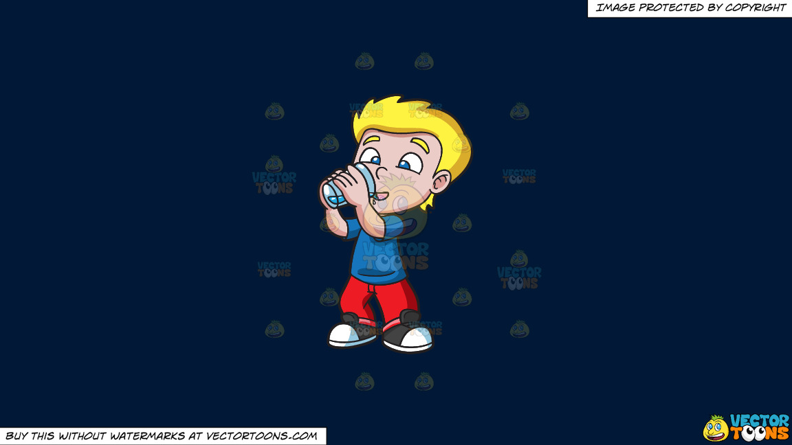A Happy Boy Drinking Water On A Solid Dark Blue 011936 Background thumbnail