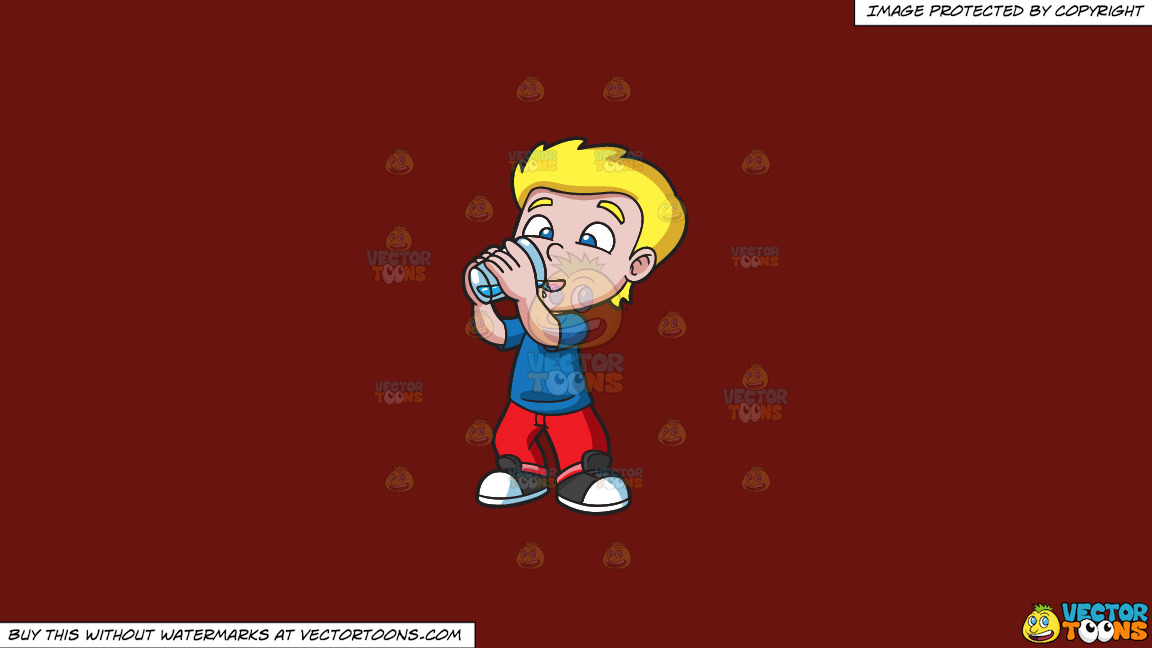 A Happy Boy Drinking Water On A Solid Maroon 69140e Background thumbnail
