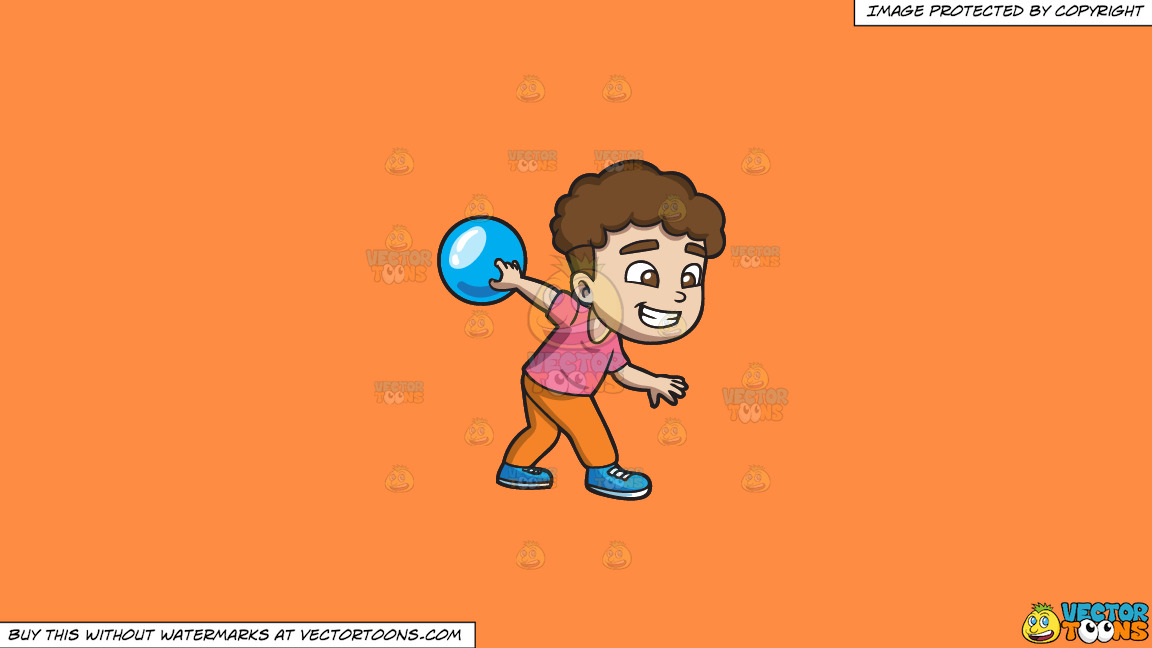 A Happy Boy Enjoying The Game Of Bowling On A Solid Mango Orange Ff8c42 Background thumbnail
