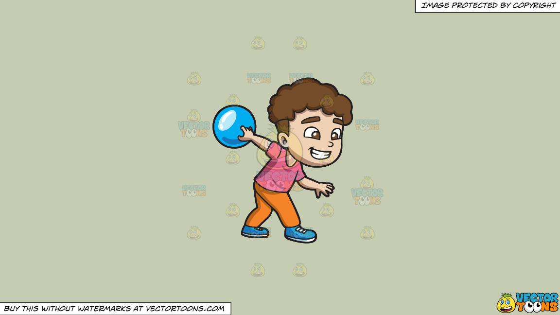 A Happy Boy Enjoying The Game Of Bowling On A Solid Pale Silver C6ccb2 Background thumbnail