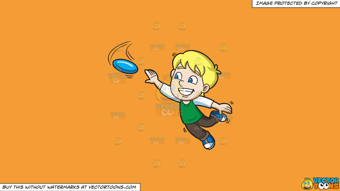 A Happy Boy Extends His Arm To Reach The Flying Disc On A Solid Deep Saffron Gold F49d37 Background thumbnail