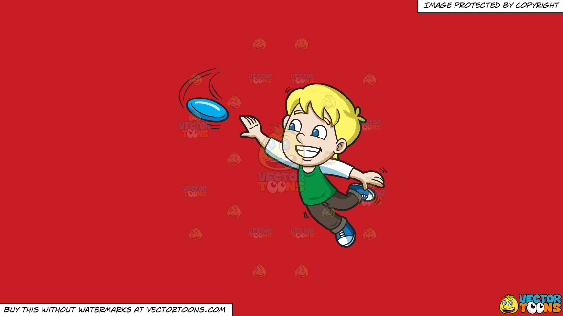 A Happy Boy Extends His Arm To Reach The Flying Disc On A Solid Fire Engine Red C81d25 Background thumbnail