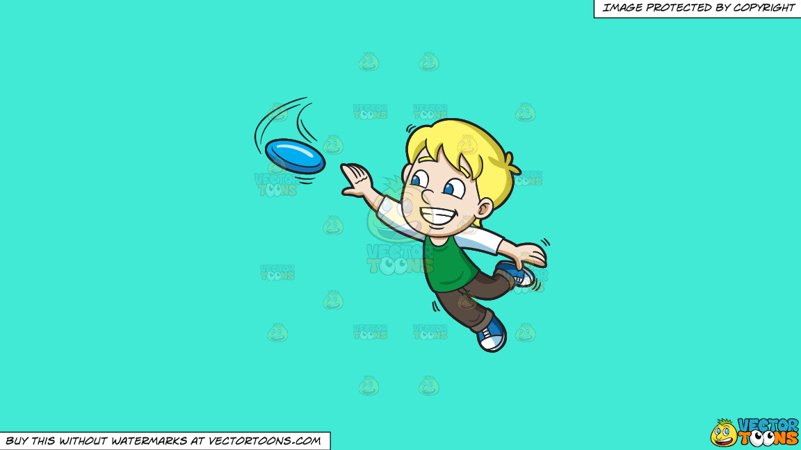 A Happy Boy Extends His Arm To Reach The Flying Disc On A Solid Turquiose 41ead4 Background thumbnail