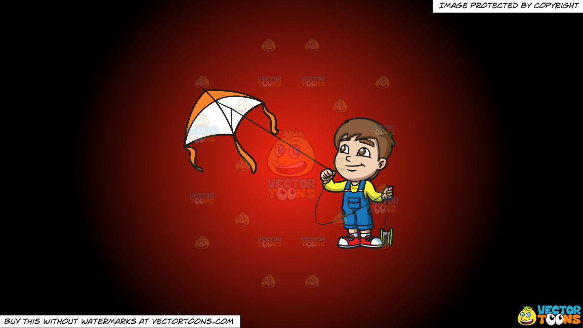 A Happy Boy Flying A Big Kite On A Red And Black Gradient Background thumbnail