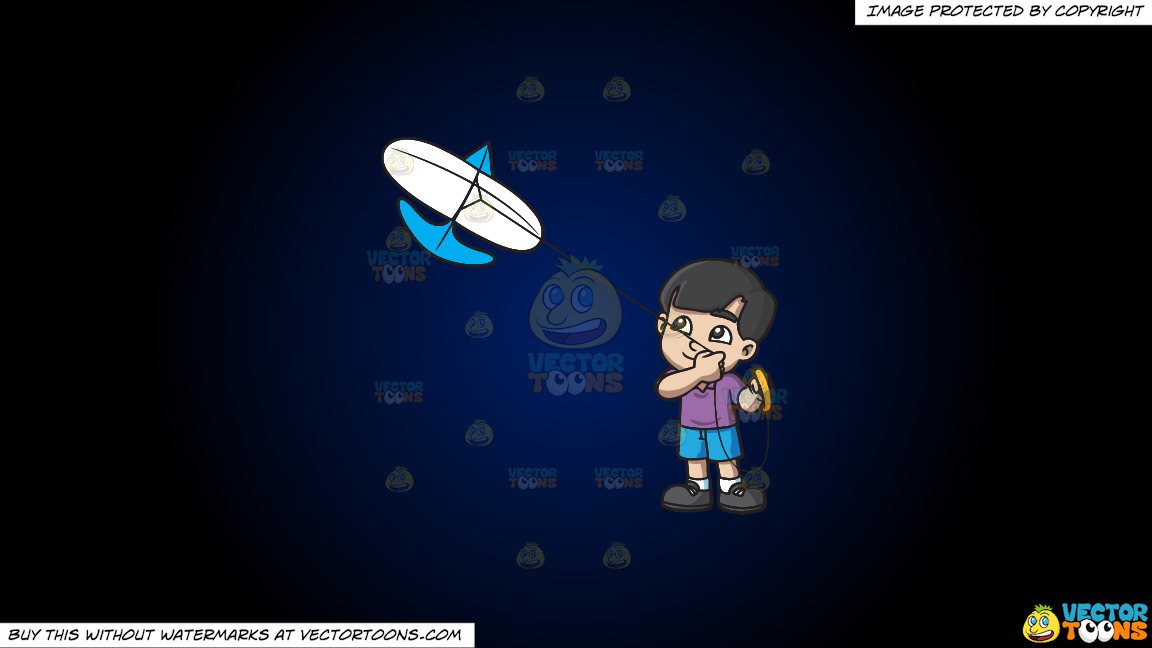 A Happy Boy Looking At The Kite That He Is Flying On A Dark Blue And Black Gradient Background thumbnail