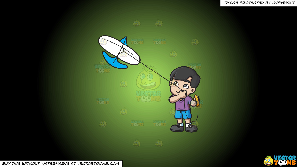 A Happy Boy Looking At The Kite That He Is Flying On A Green And Black Gradient Background thumbnail