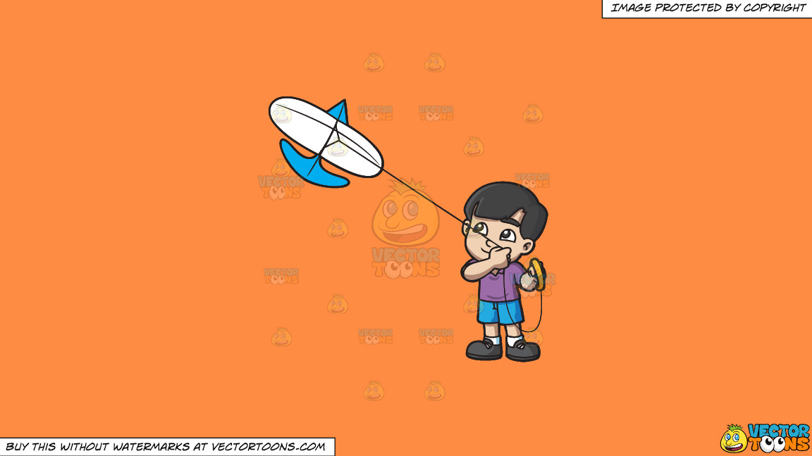 A Happy Boy Looking At The Kite That He Is Flying On A Solid Mango Orange Ff8c42 Background thumbnail