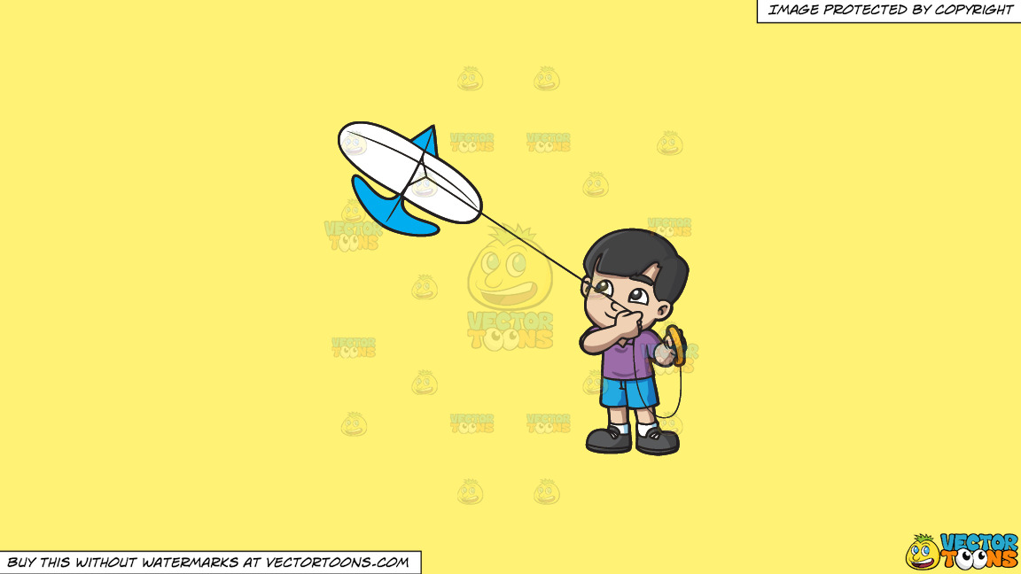 A Happy Boy Looking At The Kite That He Is Flying On A Solid Sunny Yellow Fff275 Background thumbnail