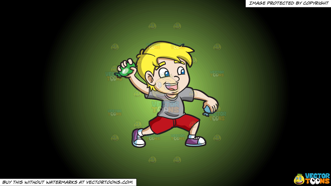 A Happy Boy Throwing Water Balloons On A Green And Black Gradient Background thumbnail