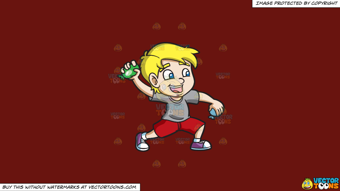 A Happy Boy Throwing Water Balloons On A Solid Maroon 69140e Background thumbnail