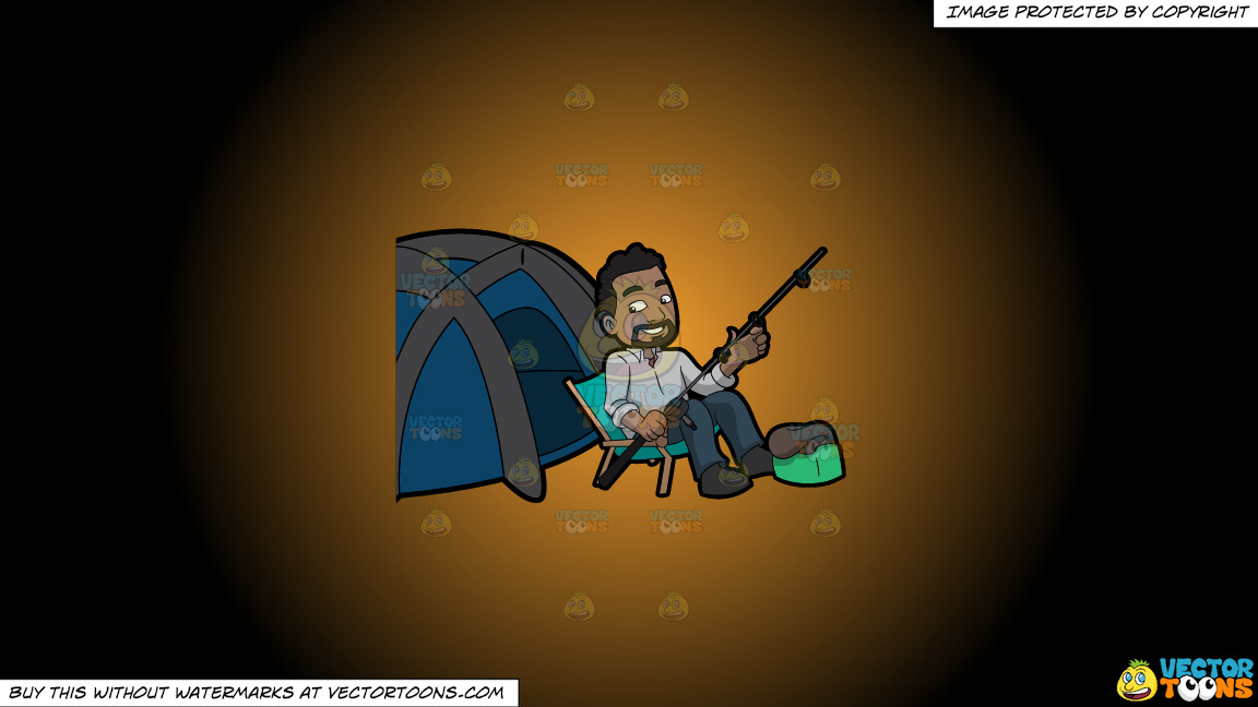 A Happy Camper Getting Some Rest Before Fishing On A Orange And Black Gradient Background thumbnail
