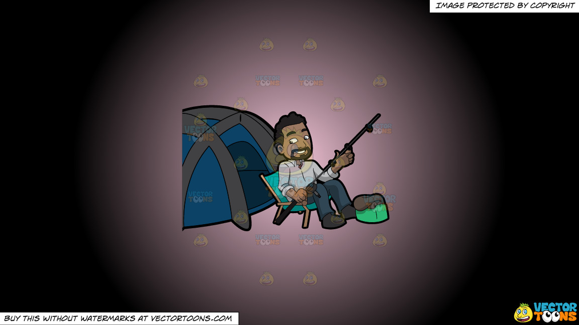 A Happy Camper Getting Some Rest Before Fishing On A Pink And Black Gradient Background thumbnail