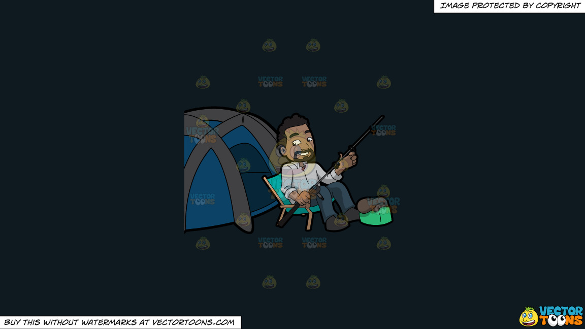 A Happy Camper Getting Some Rest Before Fishing On A Solid Off Black 0f1a20 Background thumbnail