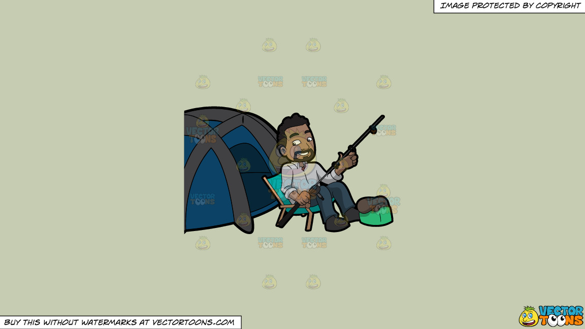 A Happy Camper Getting Some Rest Before Fishing On A Solid Pale Silver C6ccb2 Background thumbnail