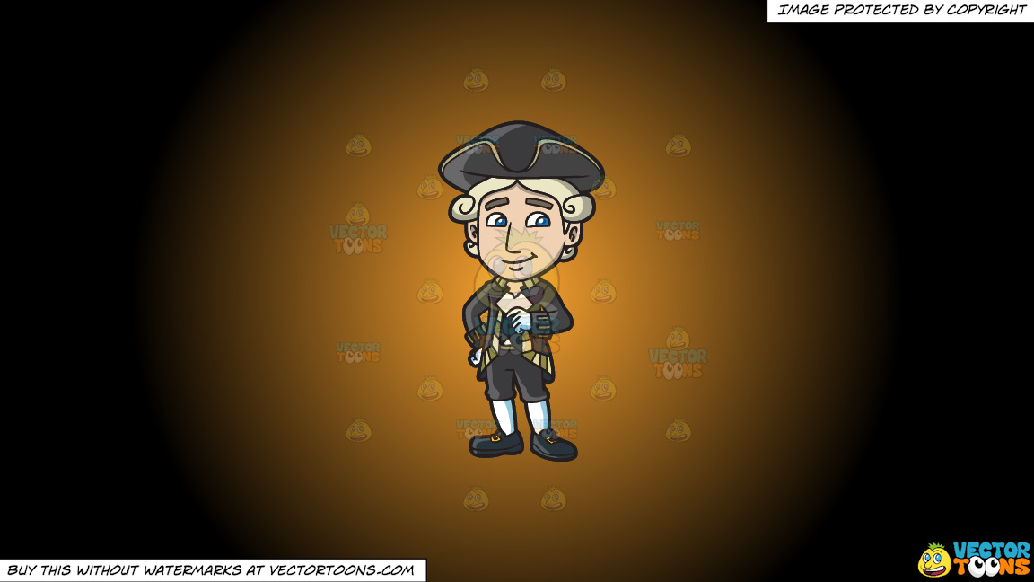 A Happy Colonial Man On A Orange And Black Gradient Background thumbnail