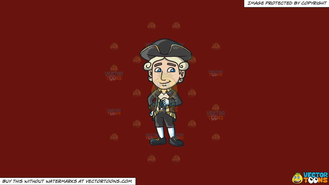 A Happy Colonial Man On A Solid Maroon 69140e Background thumbnail