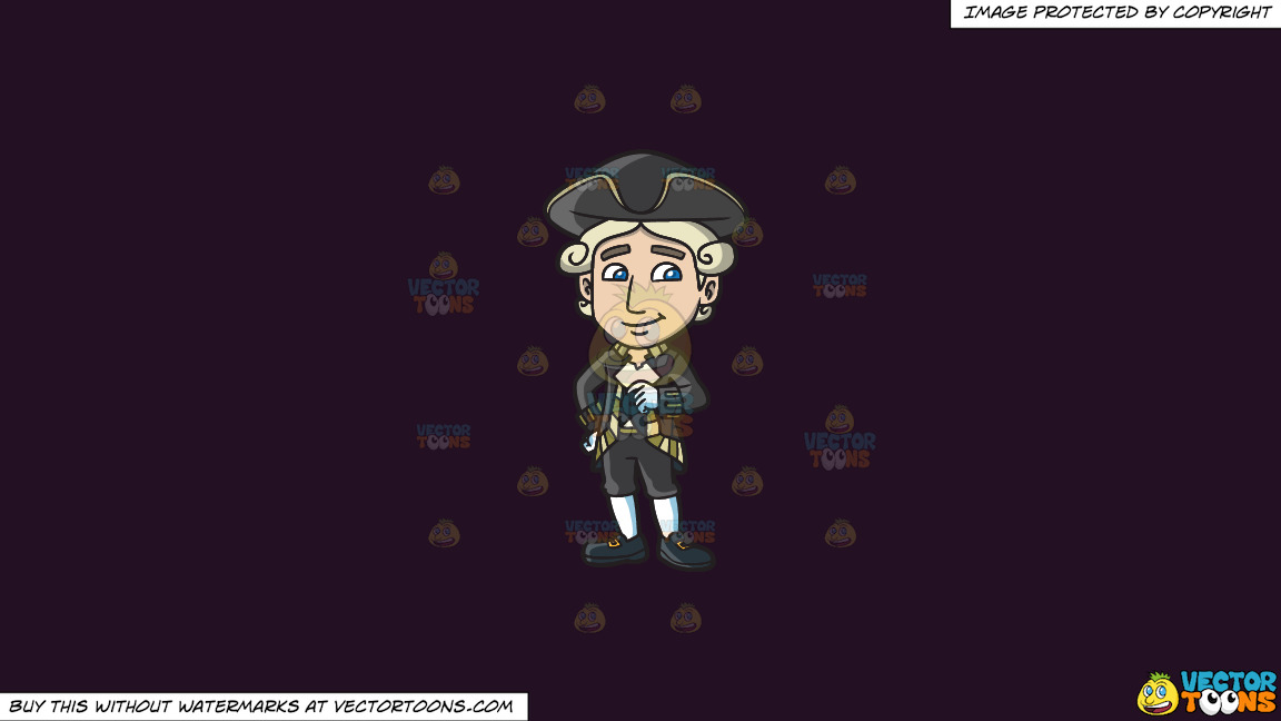 A Happy Colonial Man On A Solid Purple Rasin 241023 Background thumbnail