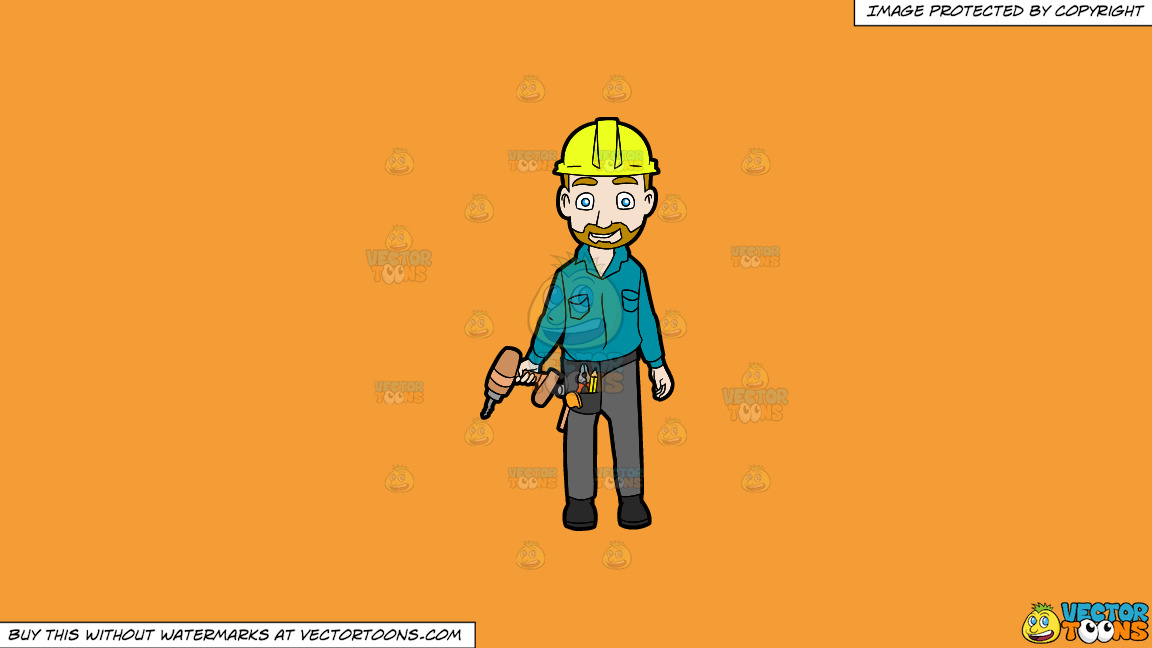 A Happy Construction Worker Standing With A Drill In His Hand On A Solid Deep Saffron Gold F49d37 Background thumbnail