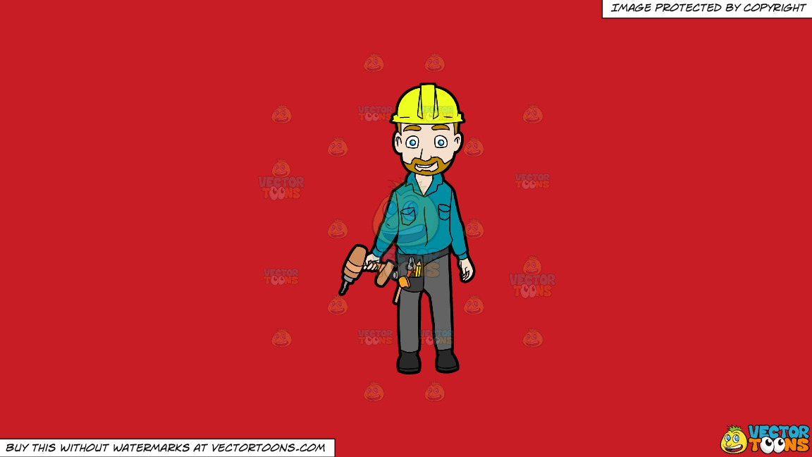 A Happy Construction Worker Standing With A Drill In His Hand On A Solid Fire Engine Red C81d25 Background thumbnail